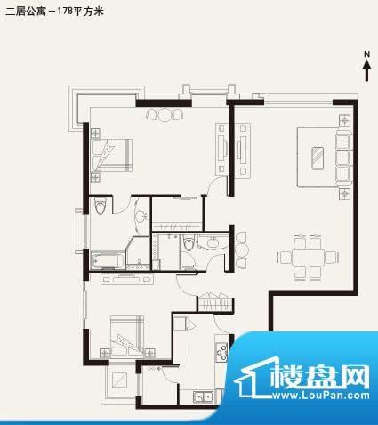棕榈泉白金公寓2居户型 2室2厅面积:178.00平米