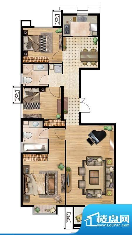 万通天竺新新家园·溪语悦庭3居面积:120.00平米