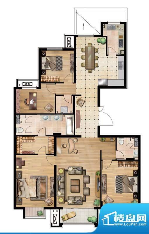 万通天竺新新家园·溪语悦庭4居面积:180.00平米