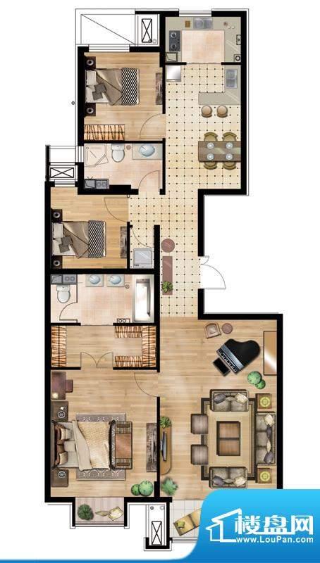 万通天竺新新家园·溪语悦庭3居面积:150.00平米