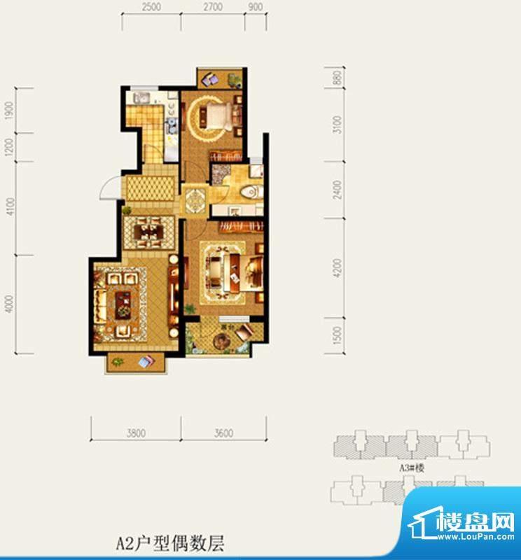 北京城建·琨廷A2户型偶数层 2面积:85.52平米