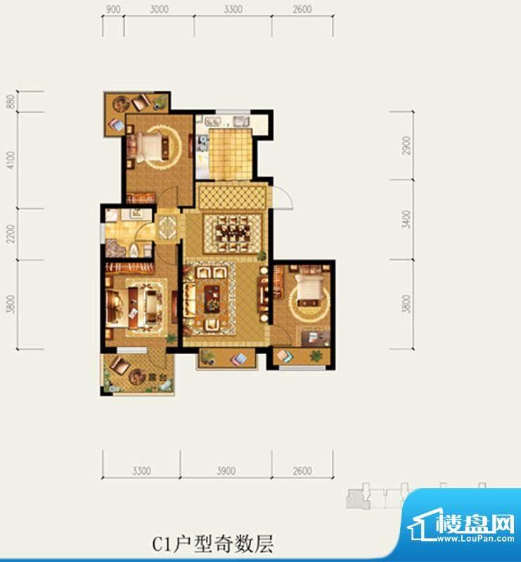 北京城建·琨廷C1户型奇数层 3面积:100.63平米