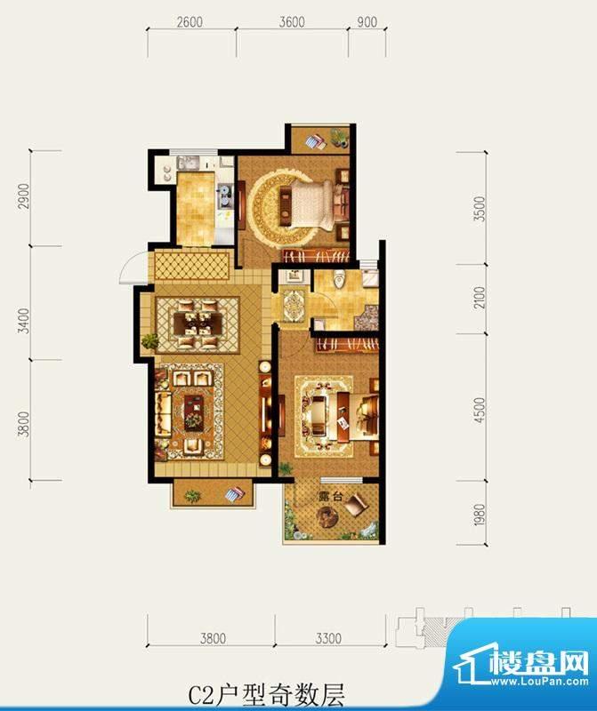 北京城建·琨廷C2户型奇数层 2面积:88.88平米