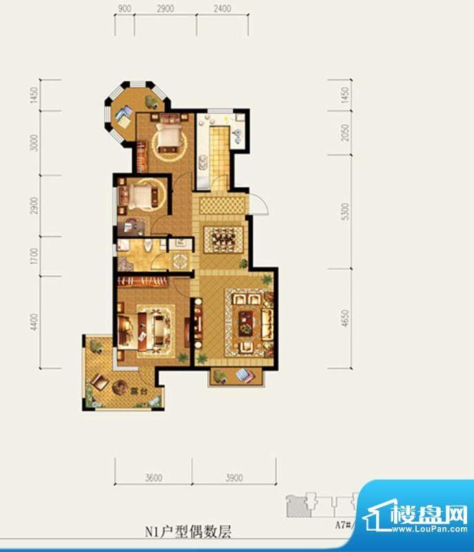 北京城建·琨廷N1户型偶数层 3面积:98.17平米