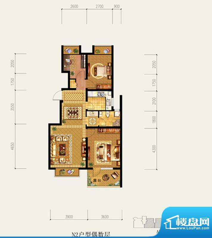 北京城建·琨廷N2户型偶数层 3面积:94.49平米