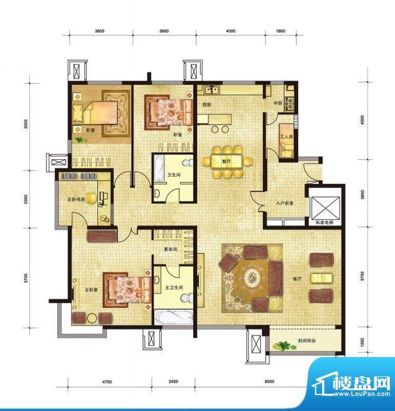 领秀新硅谷C7号楼4居户型图 4室面积:230.00平米