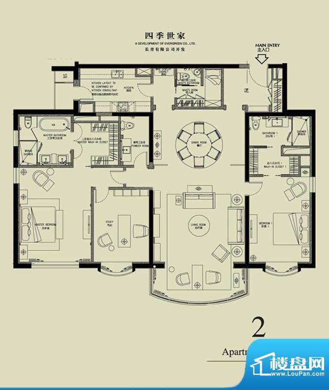 北京四季世家三居户型图 3室2厅面积:251.00平米
