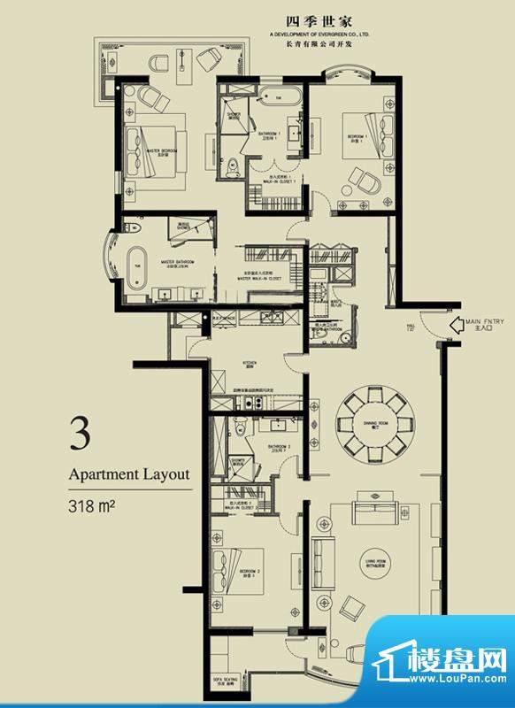 北京四季世家四居户型图 4室2厅面积:318.00平米