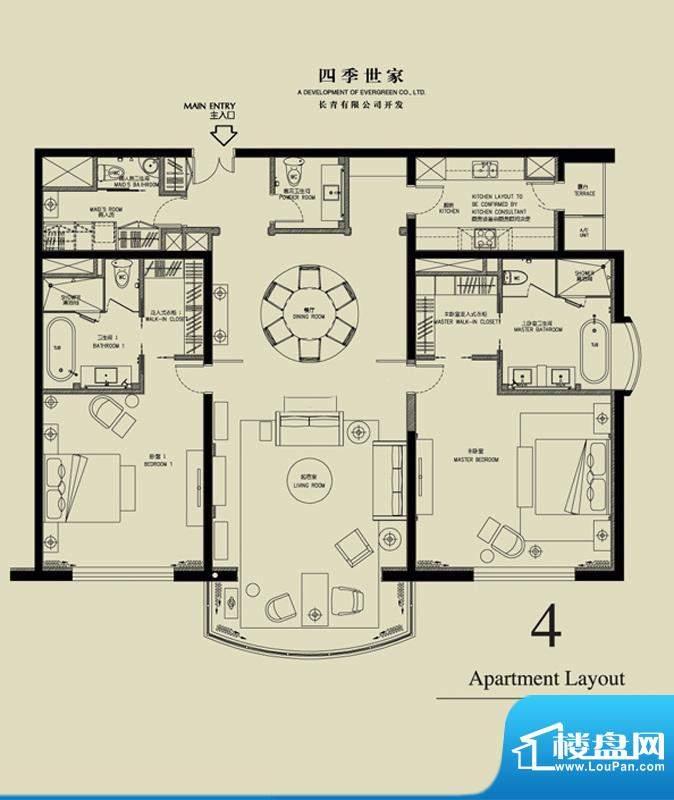 北京四季世家二居户型图 2室2厅面积:242.00平米