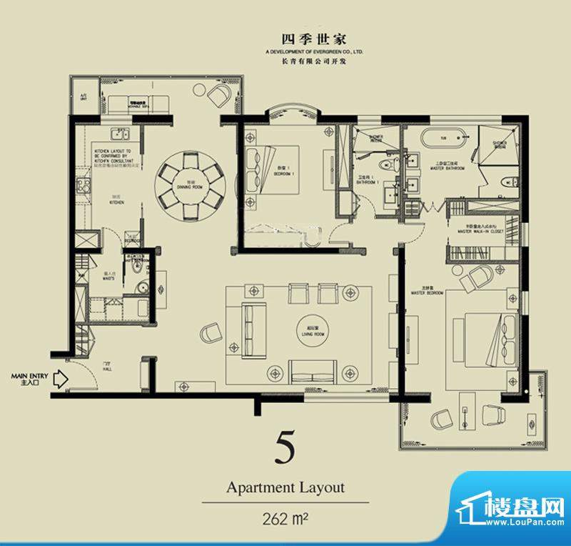 北京四季世家二居户型图 2室2厅面积:262.00平米