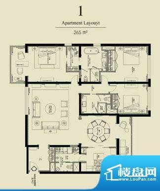 北京四季世家三居户型图 3室2厅面积:265.00平米
