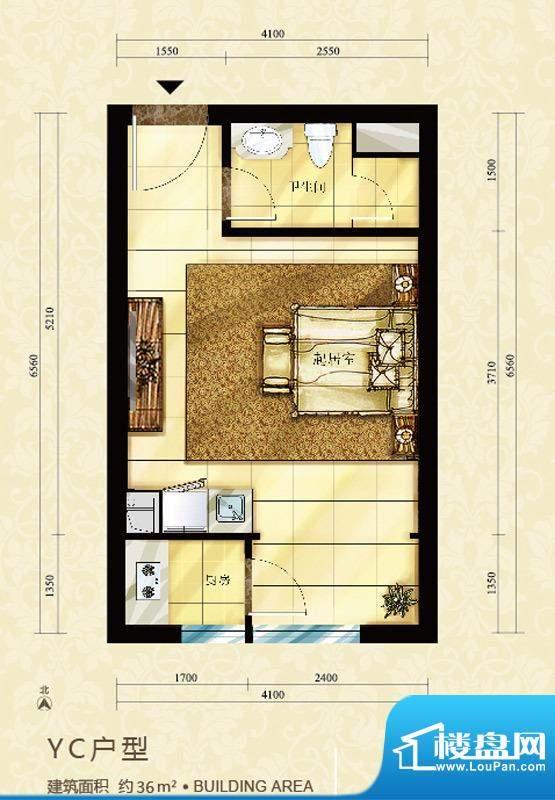 中海御鑫阁YC户型图 1室1厅1卫面积:36.00平米