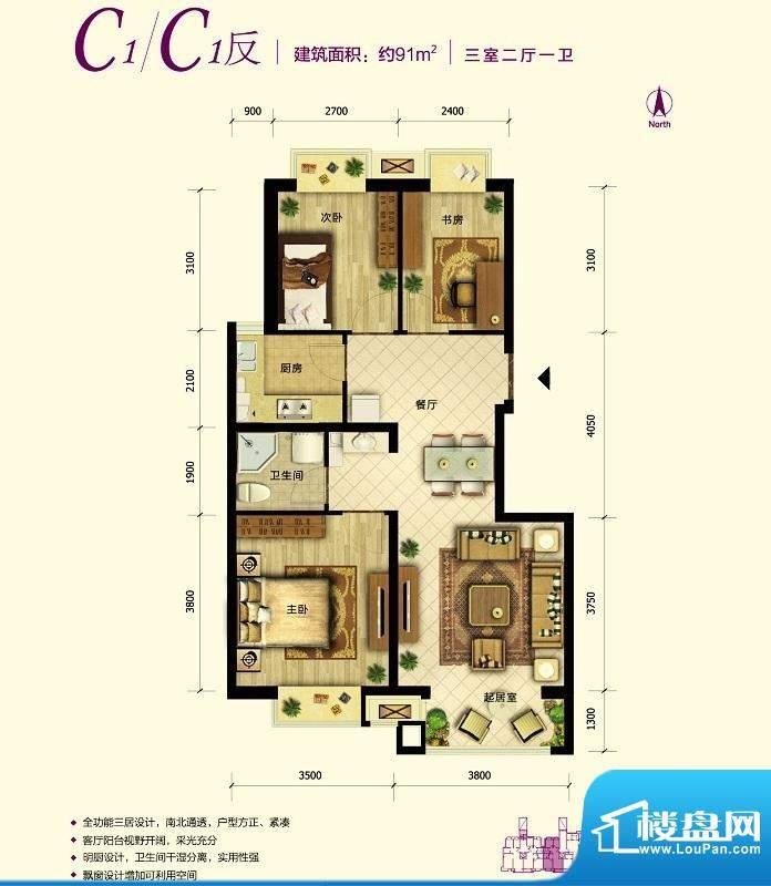 中国铁建·原香漫谷C1反户型图面积:91.00平米