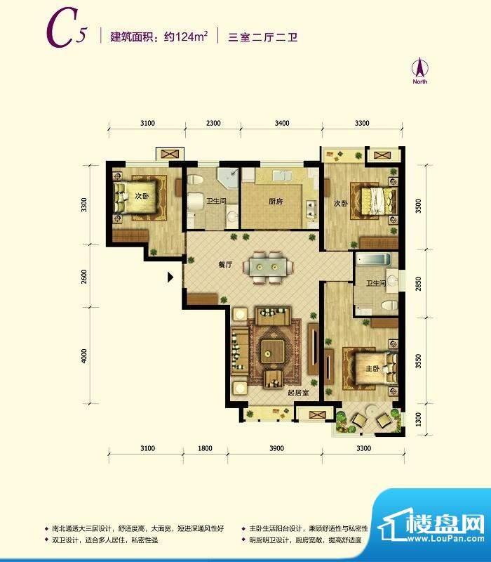 中国铁建·原香漫谷C5反户型图面积:124.00平米