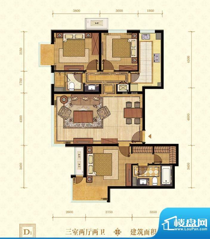 常楹公元D1-02 3室2厅2卫1厨面积:126.00平米