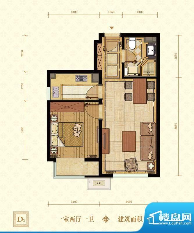 常楹公元D2-02 1室2厅1卫1厨面积:58.00平米