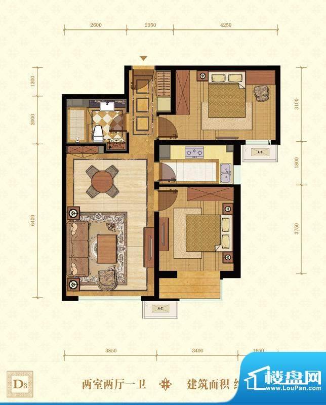 常楹公元D3-02 2室2厅1卫1厨面积:85.00平米
