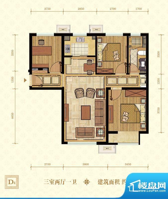 常楹公元D4-02 3室2厅1卫1厨面积:95.00平米