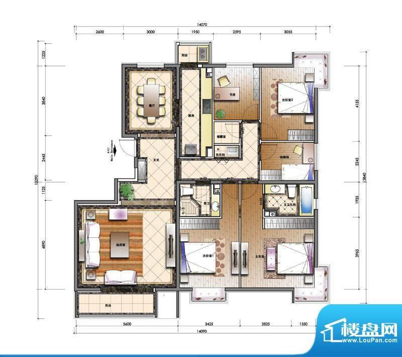 天资·璟庭C1户型图 4室2厅2卫面积:186.00平米
