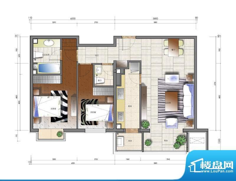 天资·璟庭A2户型图 2室2厅2卫面积:104.00平米