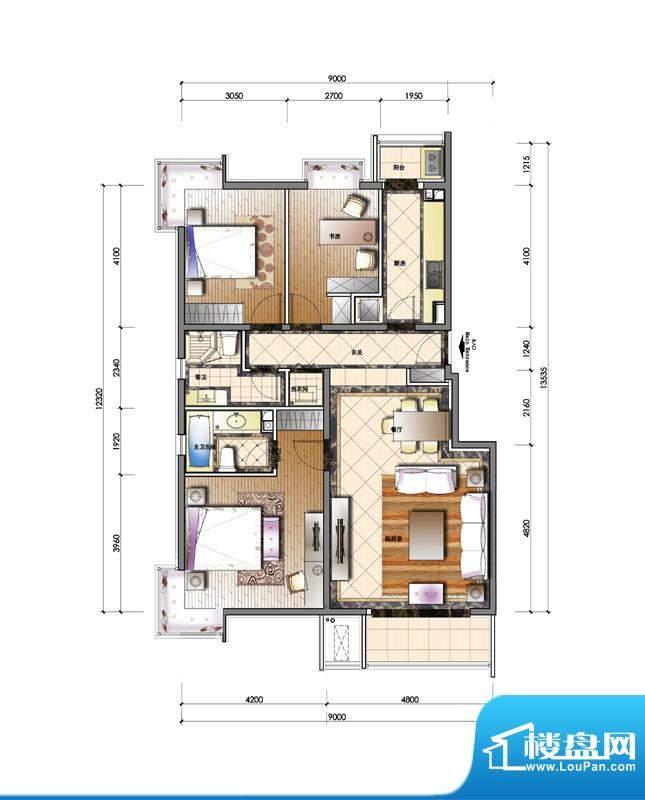 天资·璟庭B1户型图 3室2厅2卫面积:130.00平米