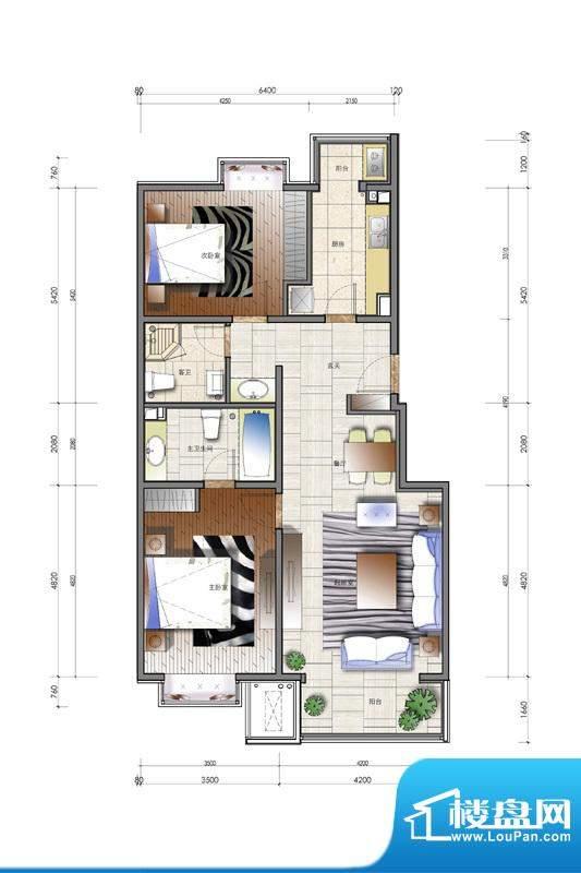 天资·璟庭B3户型图 2室2厅2卫面积:110.00平米