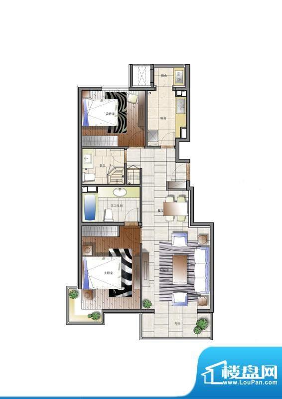 天资·璟庭A1户型图 2室2厅2卫面积:108.00平米