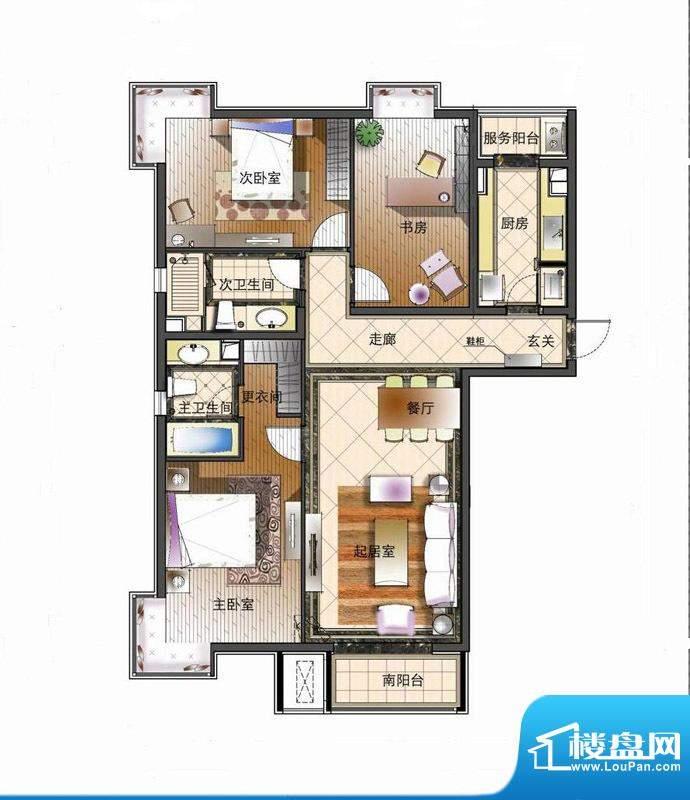 天资·璟庭B4户型图 3室2厅2卫面积:145.00平米