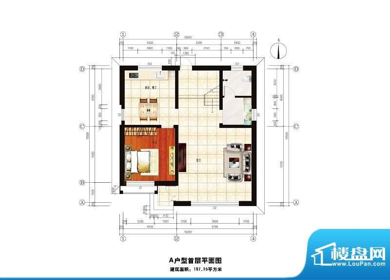 中华艺墅A户型图一层 1室1厅1卫面积:197.16平米