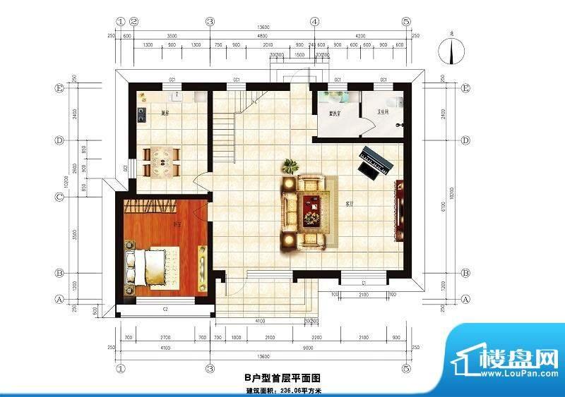 中华艺墅B户型图一层 1室2厅1卫面积:236.06平米