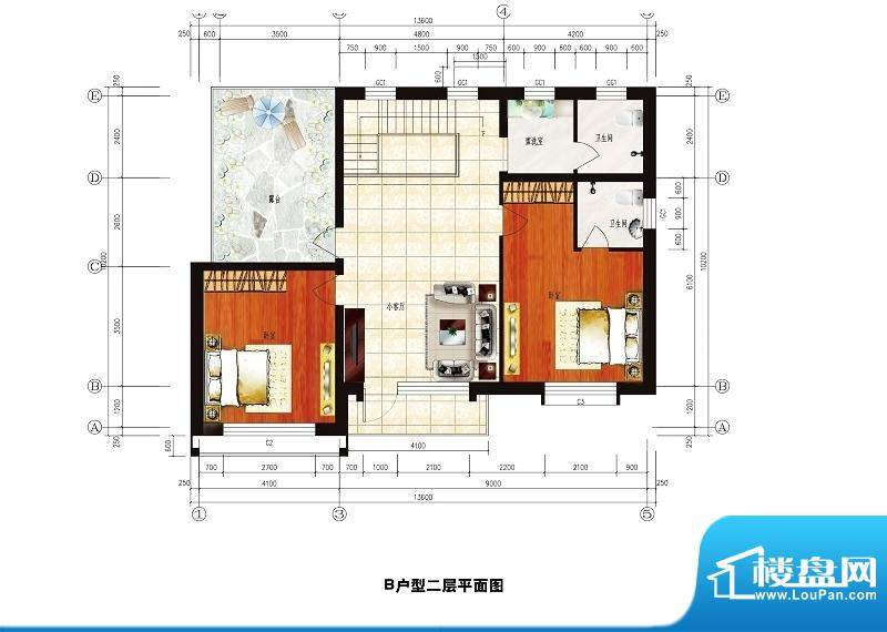 中华艺墅B户型图二层 2室1厅2卫面积:236.06平米