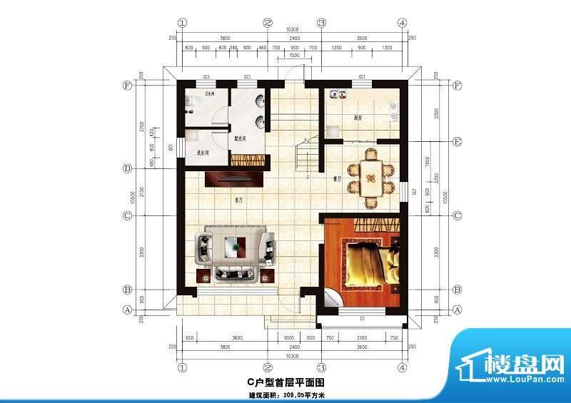 中华艺墅C户型图一层 1室2厅1卫面积:209.05平米