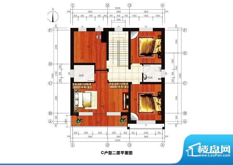 中华艺墅C户型图二层 4室2卫面积:209.05平米