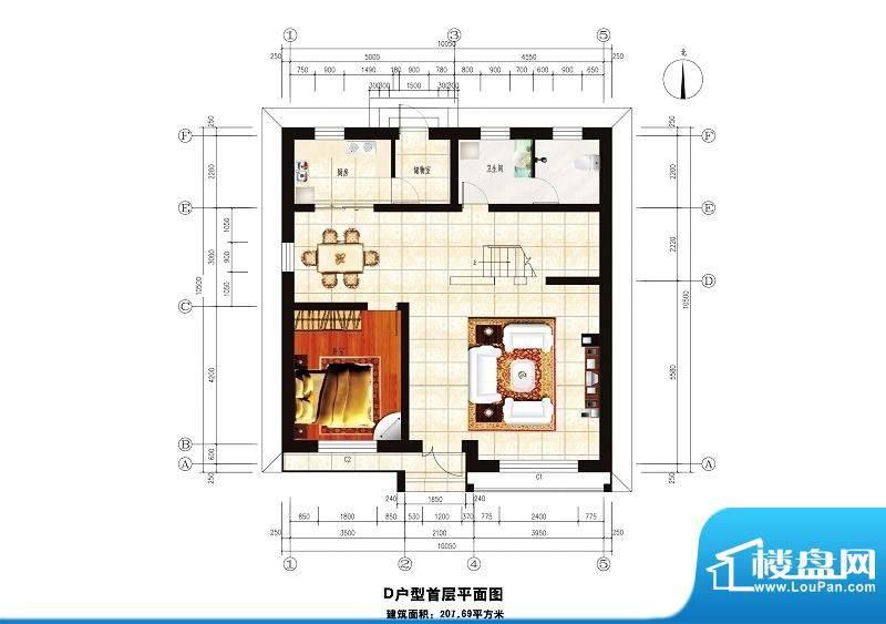 中华艺墅D户型图一层 1室2厅1卫面积:201.69平米