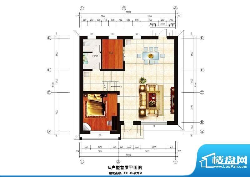 中华艺墅E户型图一层 1室2厅1卫面积:211.96平米