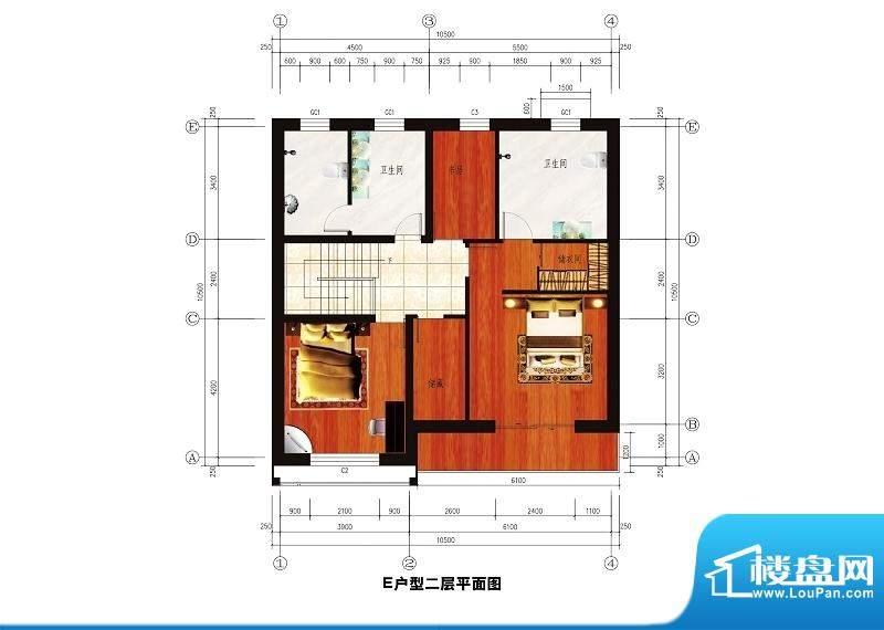 中华艺墅E户型图二层 2室2卫面积:211.96平米