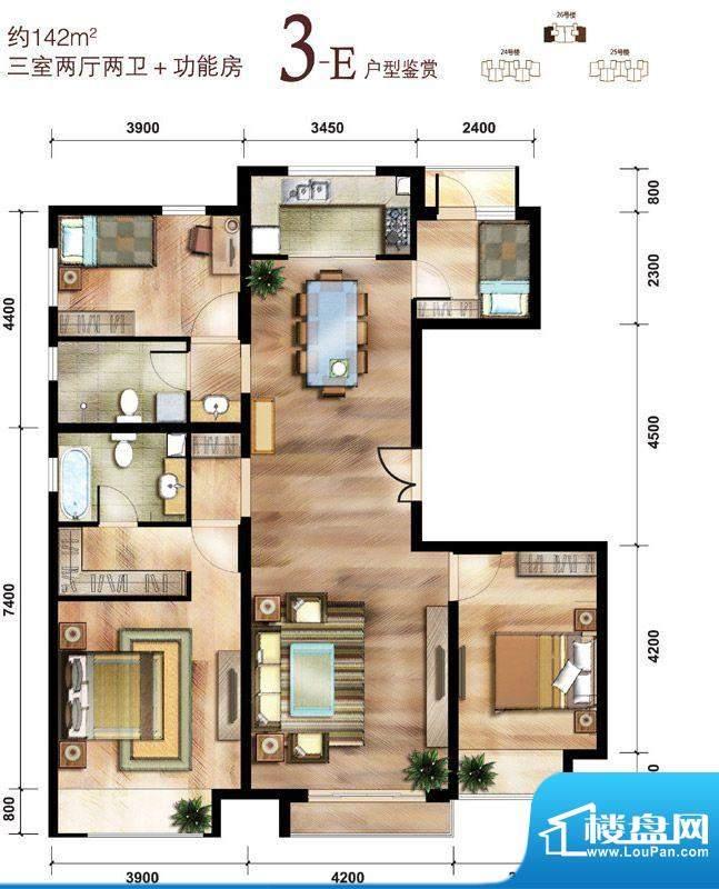中国铁建·花语城3-E户型 3室2面积:142.00平米
