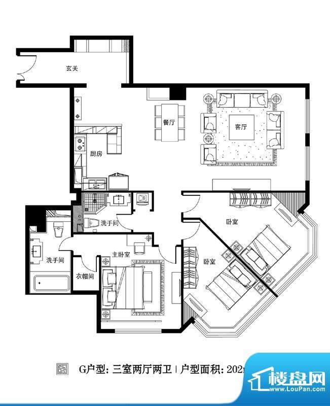 观巢G户型 3室2厅2卫1厨面积:202.00平米