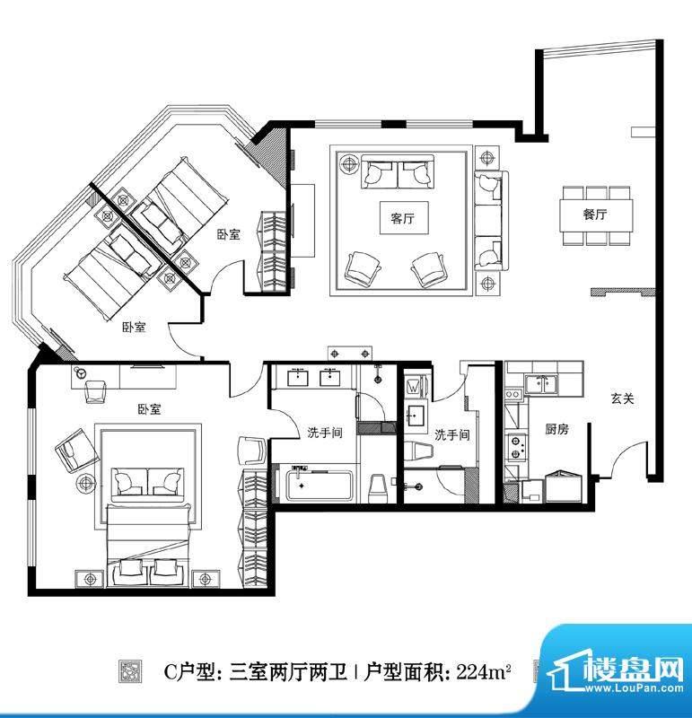 观巢C户型 3室2厅2卫1厨面积:224.00平米