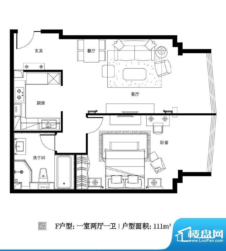 观巢F户型 1室2厅1卫1厨面积:111.00平米