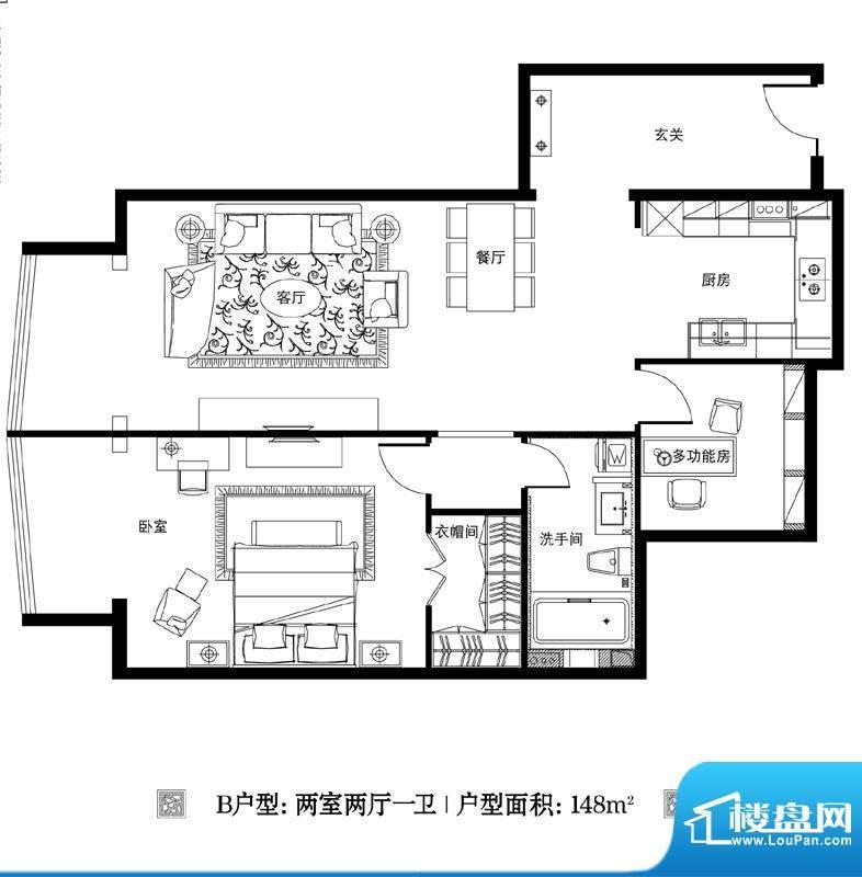 观巢B户型 2室2厅1卫1厨面积:148.00平米