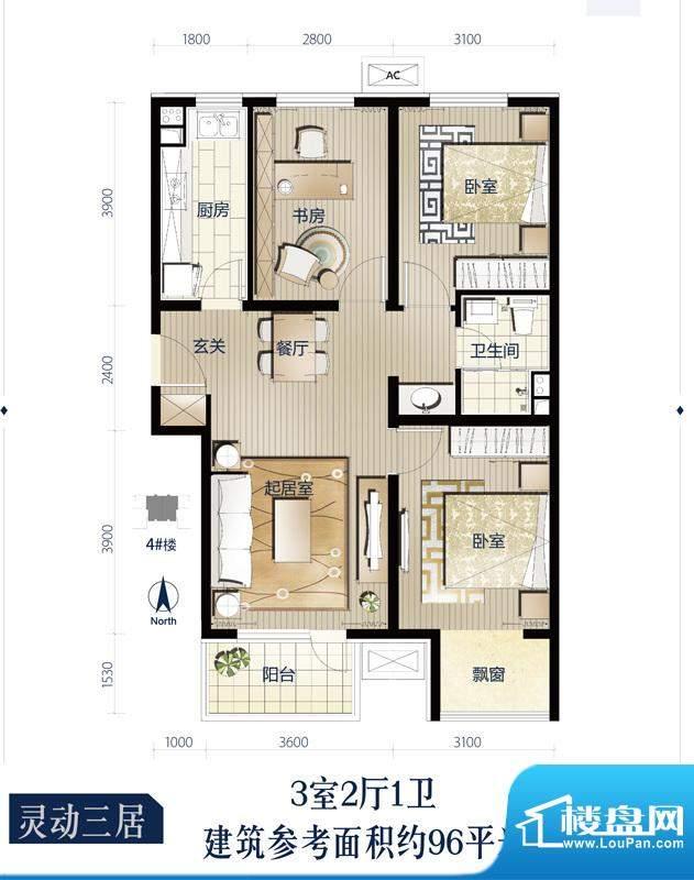 万科蓝一期4号楼标准侧D户型3室