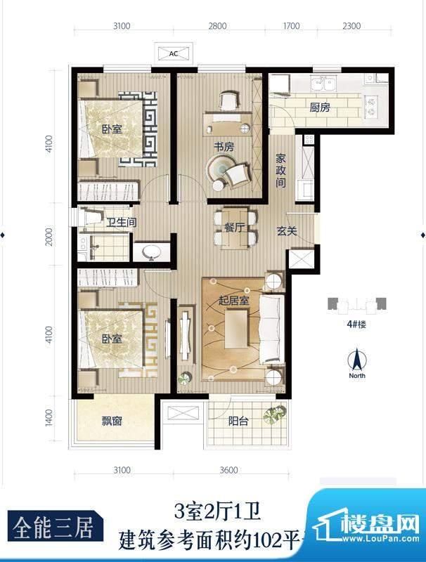 万科蓝一期4号楼标准层D户型3室