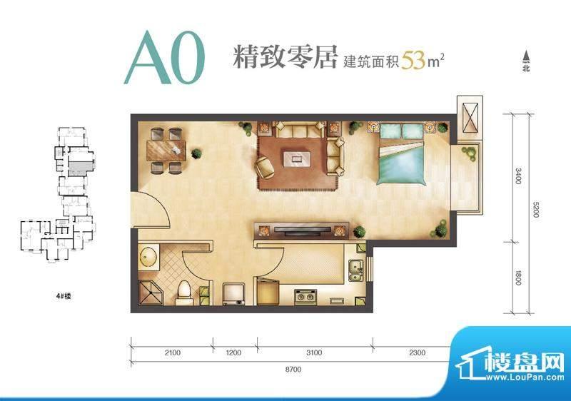远洋新悦A0户型 1室1厅1卫1厨面积:53.00平米