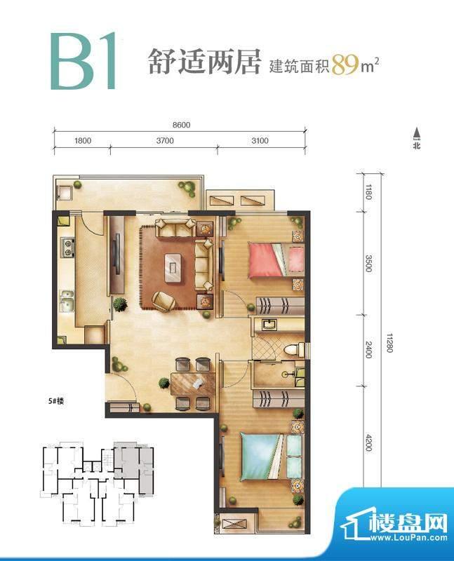 远洋新悦B1户型 2室2厅1卫1厨面积:89.00平米