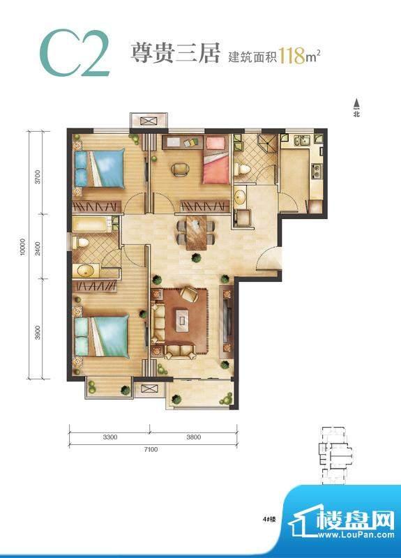 远洋新悦C2户型 3室2厅2卫1厨面积:118.00平米