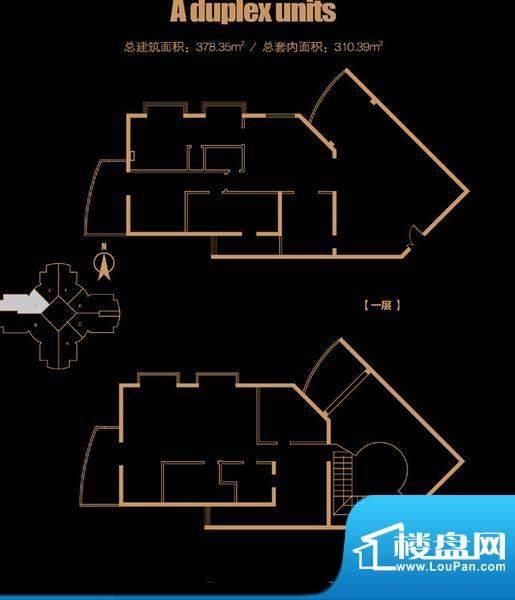 俯台东塔跃层3209户型 4室2厅2面积:378.35平米