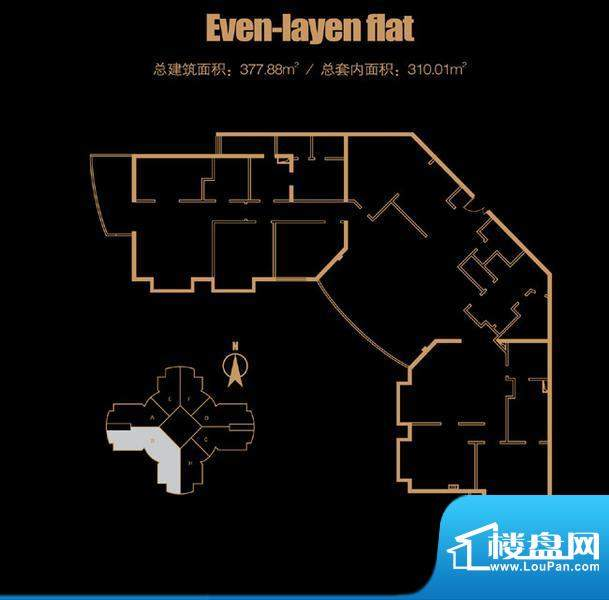 俯台东塔平层3208户型 4室2厅2面积:377.88平米