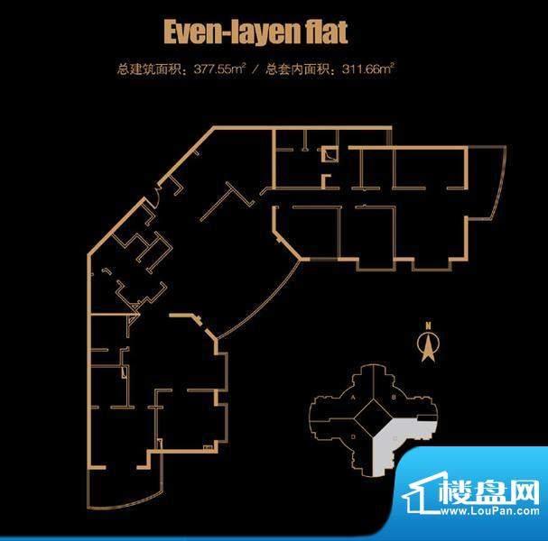 俯台西塔平层33C户型 4室2厅2卫面积:377.55平米
