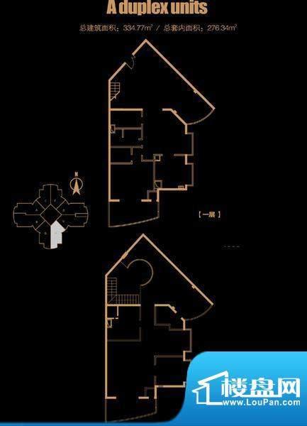 俯台西塔跃层29H户型 4室2厅2卫面积:334.77平米